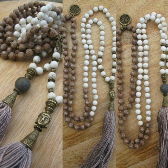 White Turquoise (howlite) with wooden beads. Pink/purple tassel and dreamcatcher in the neck, malabead necklace.