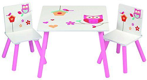 Kindersitzgarnitur Eulen Kindersitzgruppe Eule Tisch mit 2 Stühlen
