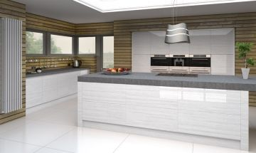 Bella High Gloss White Kitchen - By BA Components.