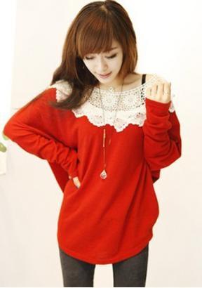 Rot Lace RollKragen T-shirt aus DE