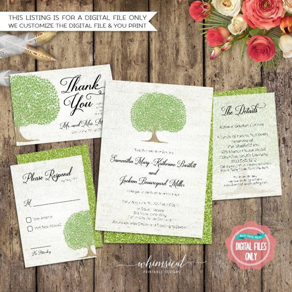 Wedding Suite Pecan Tree Printable File Only Invitation RSVP Details Accommodations Thank You Watercolor Wood Nature Outdoors
