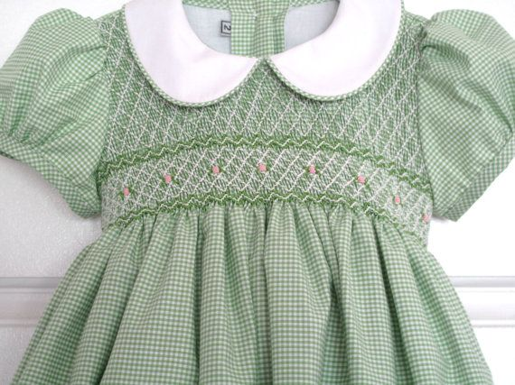 Beautiful handsmocked dress with delicate Apple green by URPIbaby, $50.00