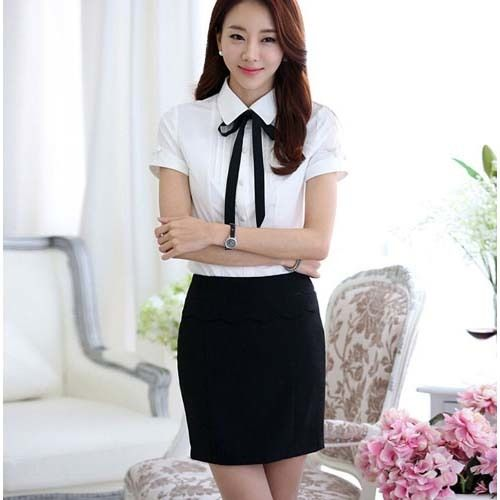 White pleated simple tie work style short sleeve OL shirt | Womens clothing online | Free Shipping | 1047WCLO