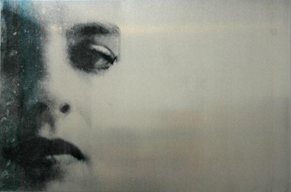 Berit Myreboee, Head 3, 2012, 40x60cm, Transfer painting on aluminium