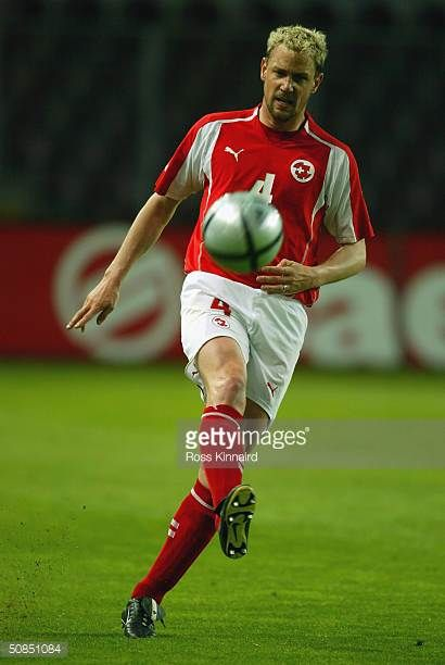 Stephane Henchoz of Switzerland passes the ball during the Friendly International match between Switzerland and Slovenia at The Stade de Geneve on...