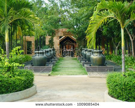 "Kompong Thom, Cambodia - September 22, 2014: ""Koh Romdoul"" is one of the entrance at Bronze Lake Resort, which it led to a few bungalows available for renting."