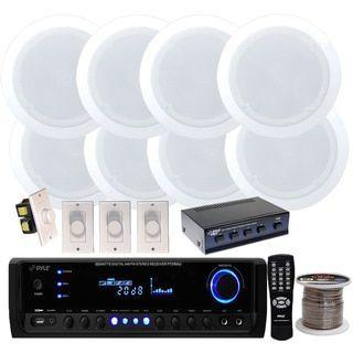 """Pyle KTHSP590 300-watt Receiver with Speaker Selector/ 4 Pair 150W 5.25"""" In-ceiling Speakers/ 4 Volume Controls/ 250 foot Wire"""