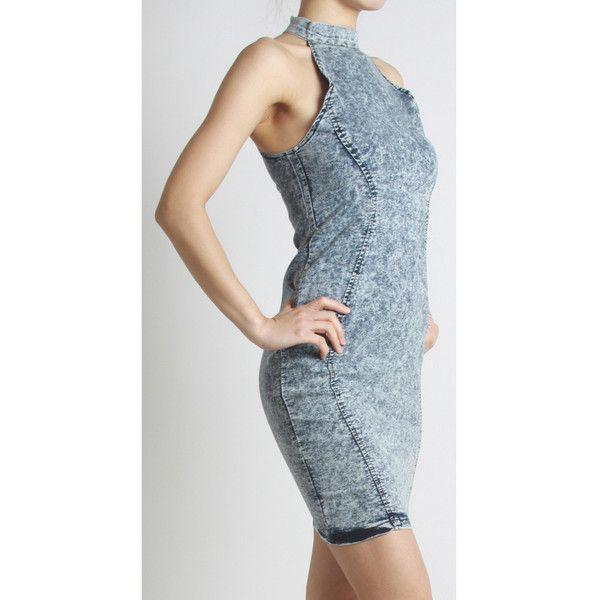 Acid Wash Stretch Denim Bodycon Dress via Polyvore featuring dresses, evening wear dresses, blue cocktail dress, bodycon cocktail dresses, stretch denim dress and blue color dress