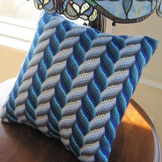 Bargello Needlepoint Hand Embroidered Decorative Pillow Oceans Aqua Cushion Monaco Blue and Matching Plain Pillow Cushion