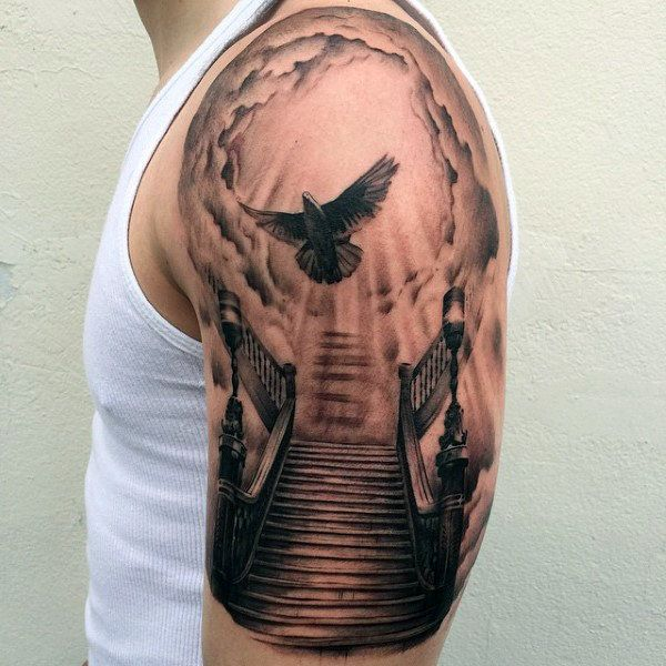 Cool Flying Dove Heaven Gates Tattoos For Guys Half Sleeve With Staircase Design
