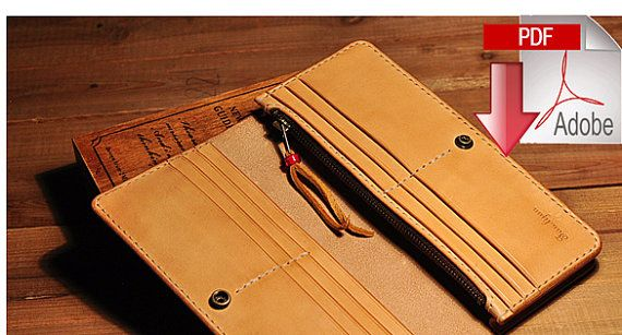 PDF Pattern leather template long wallet by LeatherPatternCraft                                                                                                                                                                                 More