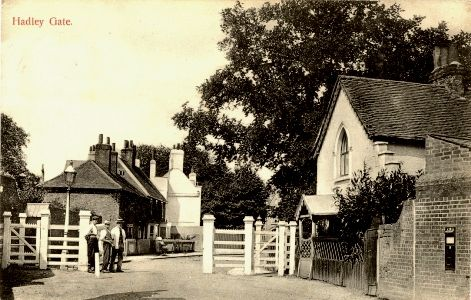 One of five gates onto Hadley Common, Barnet, England (1904). Not much changed today.