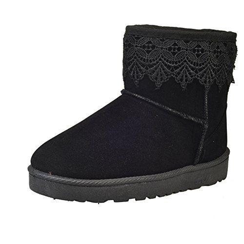 se?oras para mujer Wide pantorrilla corta tobillo Wellington Festival Rain botas - Negro UK3 - EU36 - US5 - AU4 MxUZd5hFl