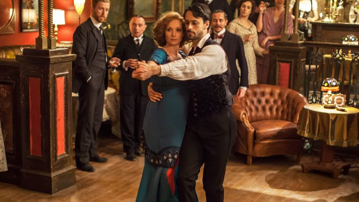 Mr. Selfridge (series 2013 - ) Starring: Tom Goodman-Hill as Roger Grove, Ron Cook as Mr. Crabb, Amy Beth Hayes as Kitty Hawkins and Amir Giles as Male Dancer. (click thru for high res)