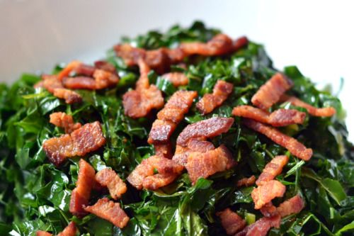 Quick and Simple Stir-Fried Kale and Bacon by @Michelle Tam