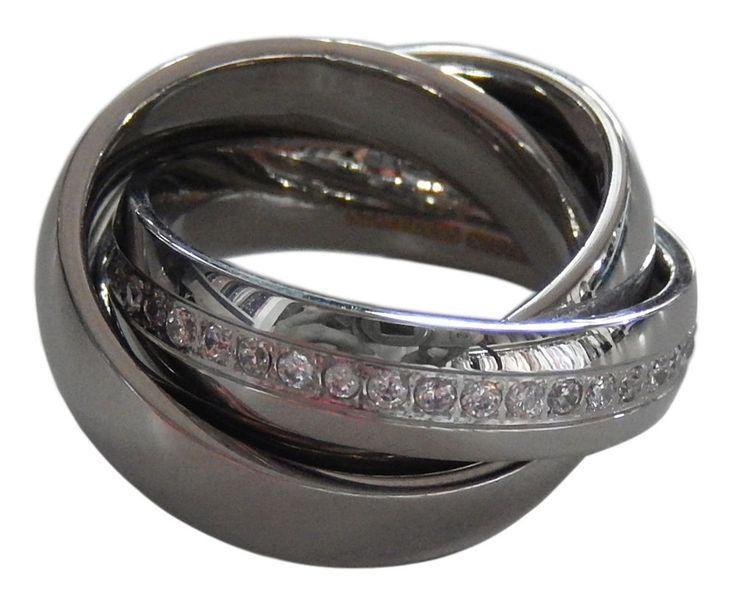 3er Ring Damen Edelstahl 3fach mit weißen Steinen Swarovski Edelstahlring 16-21