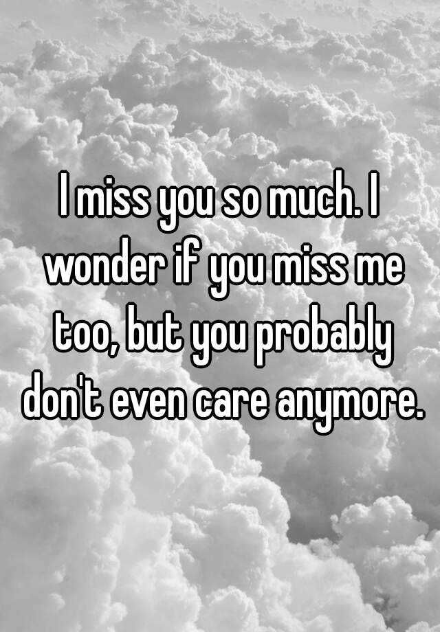I Miss You So Much I Wonder If You Miss Me Too But You Probably