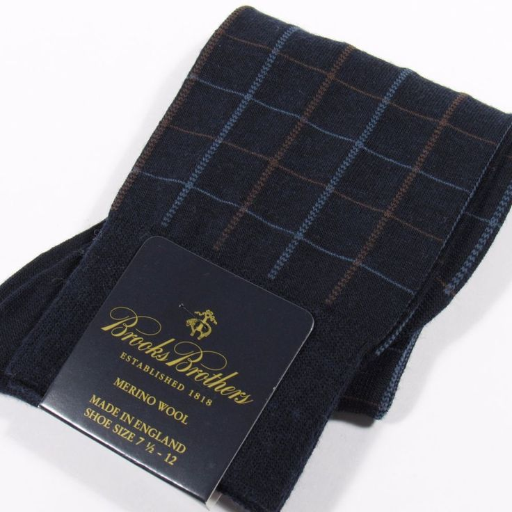 BROOKS BROTHERS Men's Wool Dress Socks Check Plaid Made in England NAVY O/S NWT #BrooksBrothers #Dress