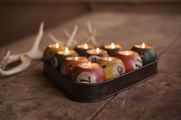 The Pool Ball Candle Holder Puts a Manly Spin on a Romantic Night #Candleholder #Candles trendhunter.com