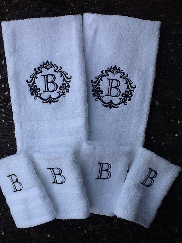 Damask Monogram towels and wash cloths by SewForChildren on Etsy