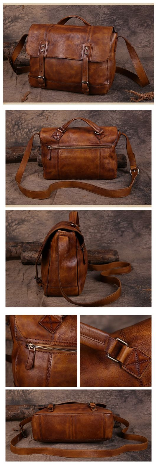 Handmade Vintage Top Grain Leather Briefcase Men's Messenger Bag 13'' Laptop Bag Men's Fashion Briefcase Leather Shoulder Bag 15003 Overview: Design: Vintage Leather Men's Briefcase In Stock: 3-5 days
