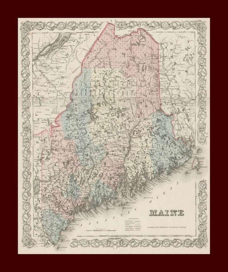 Cape Verde Map World%0A Maine  Antique Colton Map  Original
