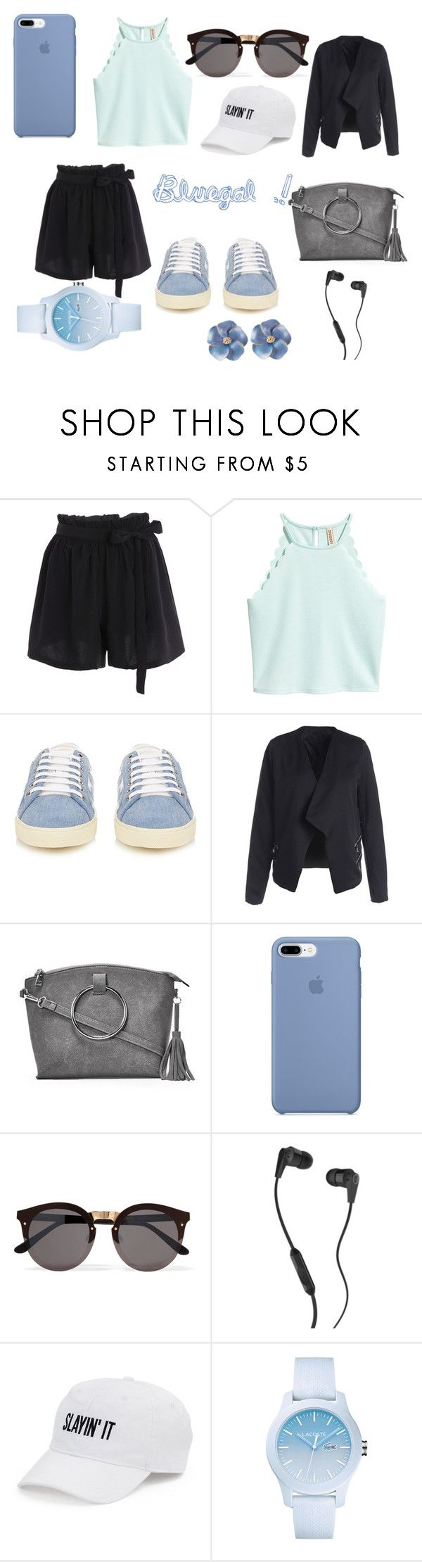 """Bluegal #2"" by elsou on Polyvore featuring mode, Yves Saint Laurent, Nasty Gal, Illesteva, Skullcandy, SO, Lacoste, sweet, summerstyle et pastels"