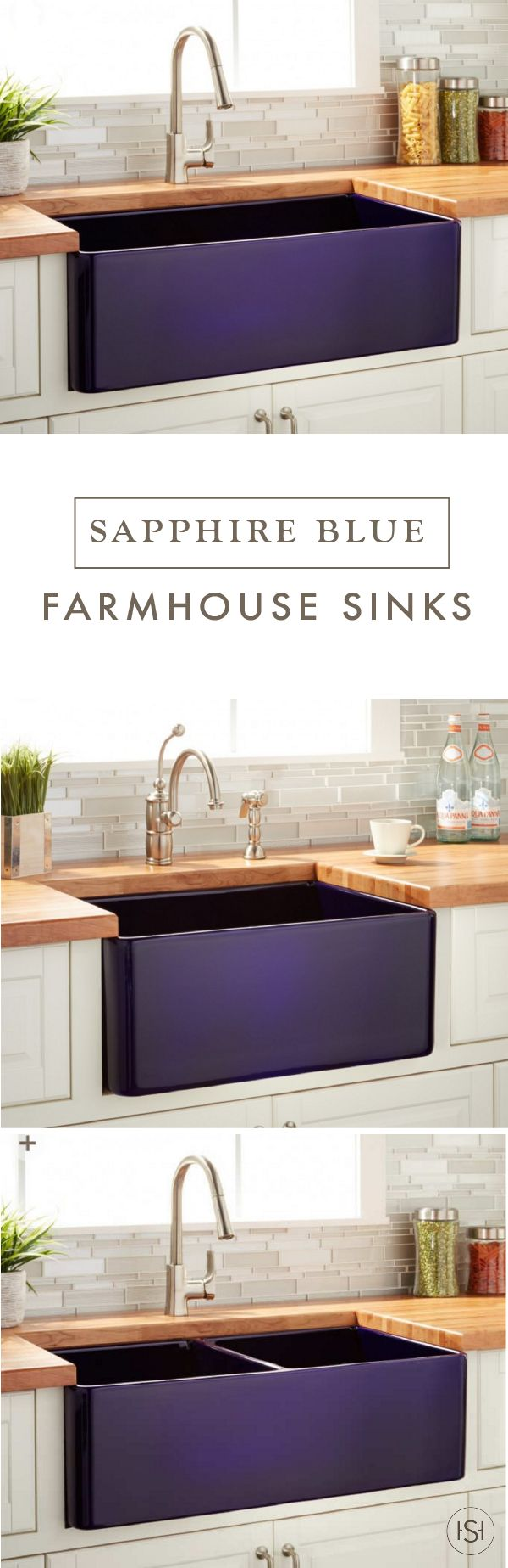 this collection of sapphire blue reinhard fireclay farmhouse sinks will play doubleduty in your kitchen practical kitchen essential and