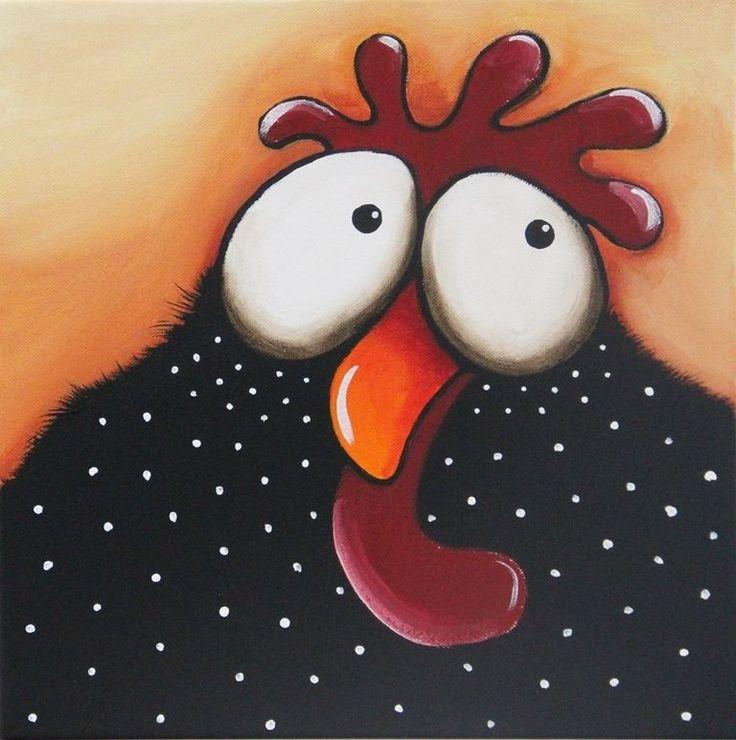 Original acrylic canvas painting whimsical bird folk art cute Black Chicken Papa #Modernism