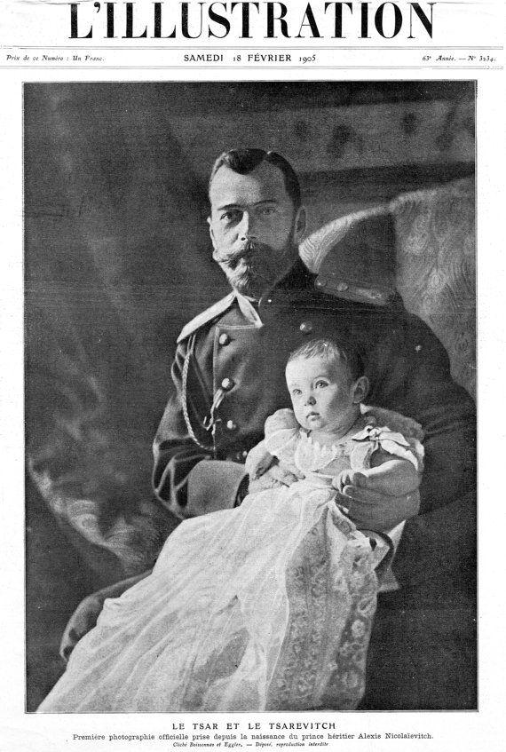 1905 Original Antique L'Illustration Parisian French Newspaper Prints Imperial Russian Last Tsar Nicholas II & Tsarevich Alexei Nikolaevich