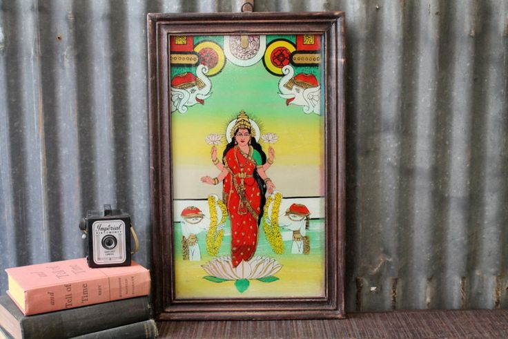 Vintage Indian Painting of Lakshmi Hindu Deity Traditional Artwork Global Folk Art Reverse Painted Glass Wall Decor