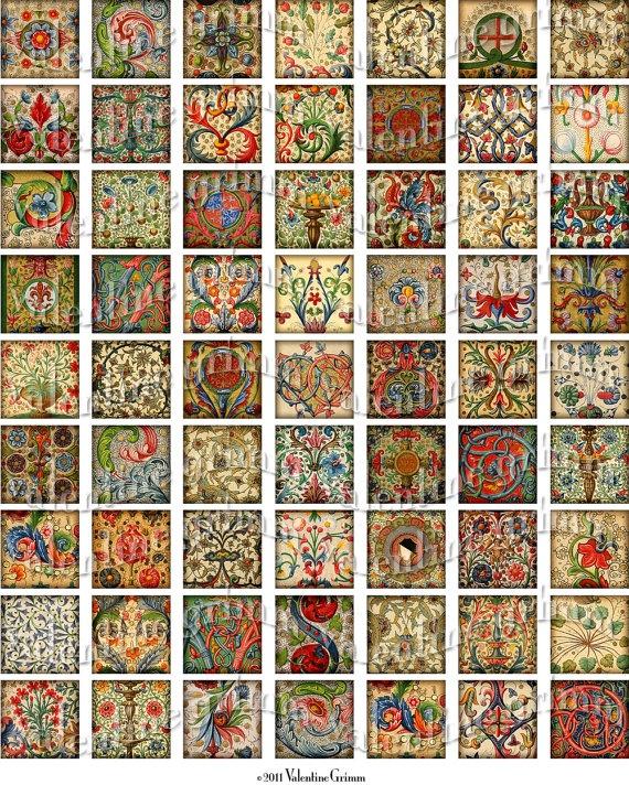 "1"" manuscript illuminations squares, from the 1800's. $3"