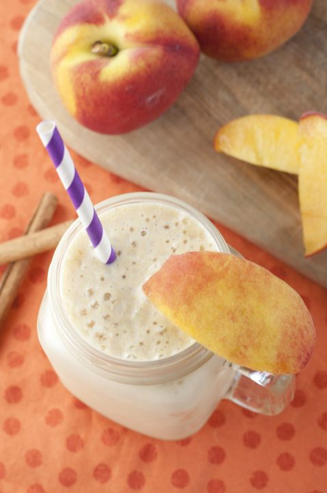 Rich and creamy Peach Pie Protein Shake packed full of protein and tastes like a slice of peach pie in a glass!