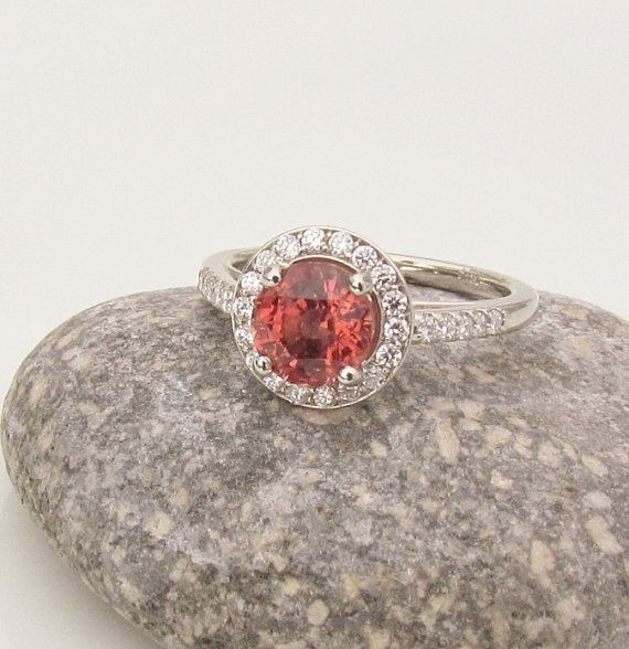 Apricot Spinel 1.5cts in 14k White Gold Diamond by PristineJewelry