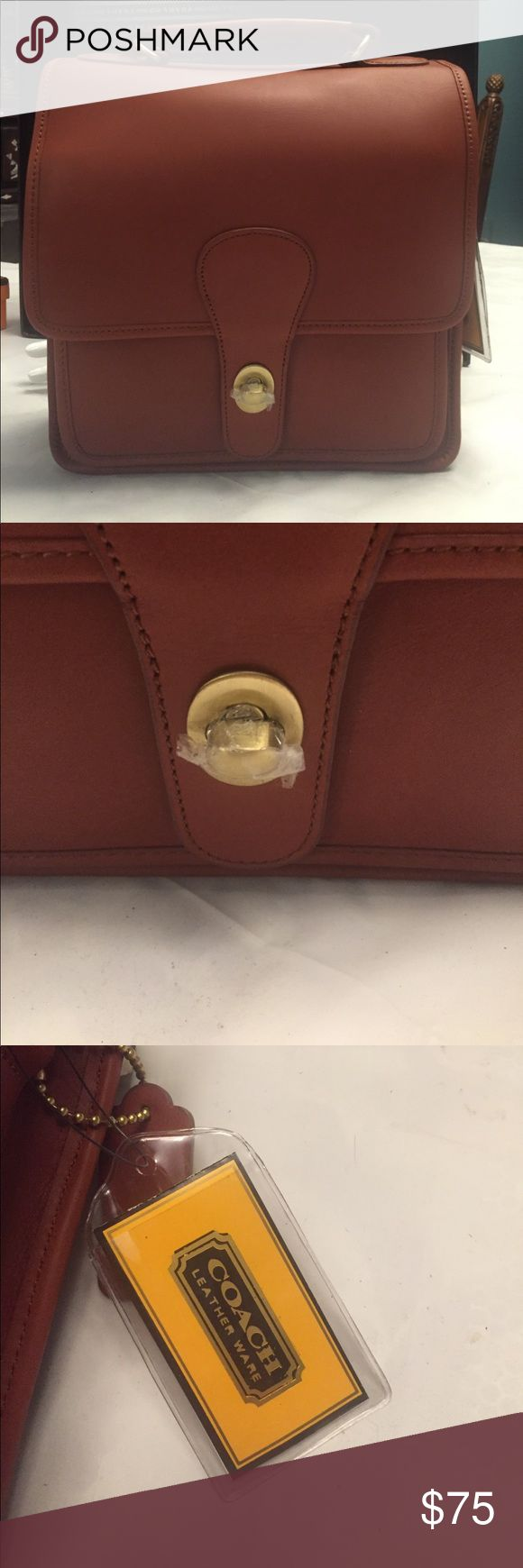 Coach Bag 💯 authentic vintage style coach leather bag , brand new , very fashionable and classic,  come with leather band And original key 🔑 holder in brown leather color, medium size bag Coach Bags