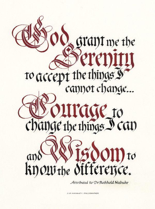 God grant me the Serenity Prayer Print Clifford D Mansley Sr Calligraphy