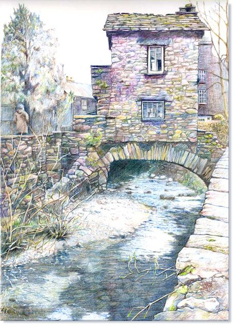 "UKCPS - World of Coloured Pencil Exbition 2012. ""The Bridge House – Ambleside""    Malcolm Cudmore UKCPS    24 x 36cm  Derwent Artist on Canson Bristol"