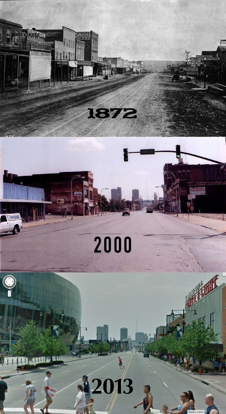 View looking south from Grand & 13th Street in Kansas City. 1872 • 2000 • 2013  (Help from KANSAS CITY THEN AND NOW & GOOGLE MAPS STREET VIEW)