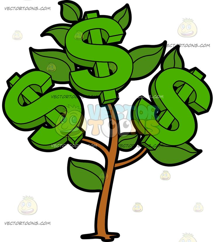 A Small Money Plant Bearing Dollars :  A money plant growing green leaves and three big green dollar sign  The post A Small Money Plant Bearing Dollars appeared first on VectorToons.com.   #clipart #vector #cartoon