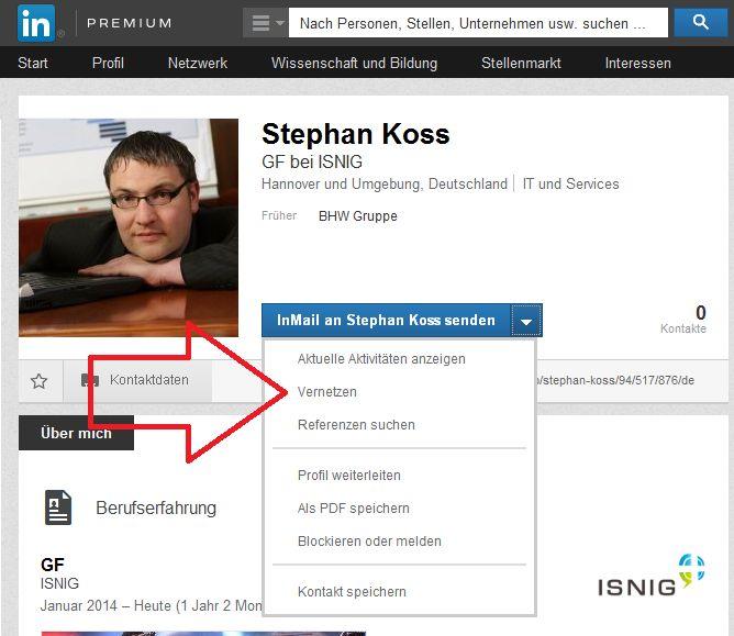 Der Button zum Kontakte knüpfen bei LinkedIn ist etwas versteckt