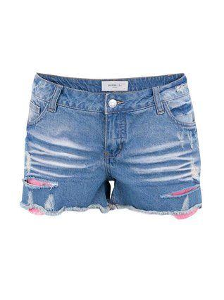 Vero Moda - Světle modré džínové kraťasy s růžovou krajkou  Paula - 1