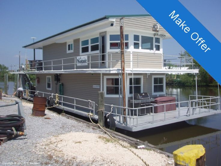 House Barges for Sale Louisiana | Custom Built 69 For Sale -1961 Motor Boats-Pontoon-Deck-House-