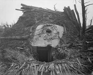 WWI, Nov 1916, Somme, Battle of the Ancre. German ammunition dug-out near St Pierre Divion. ©IWM
