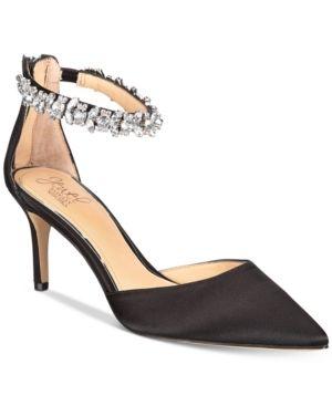 5b0193c2ab6 Jewel Badgley Mischka Audrey Embellished Ankle Strap Evening Pumps ...