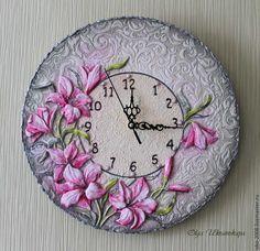 """Купить Часы """"Лилии"""" - розовый, розовые лилии, лилии, цветы, лето, часы с цветами"""