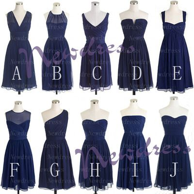 Navy blue mismatched short bridesmaid dresses, cheap chiffon simple bridesmaid dresses