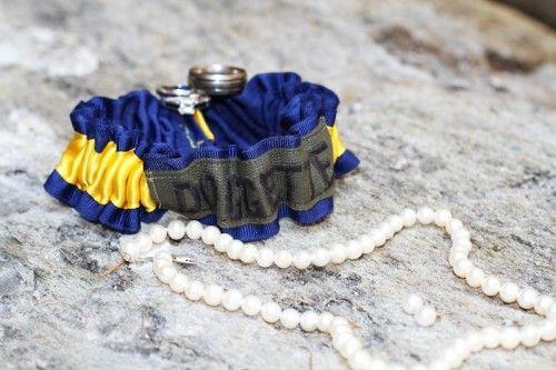 Military Name Tape Bridal Garter - custom wedding garter hand made by The Garter Girl