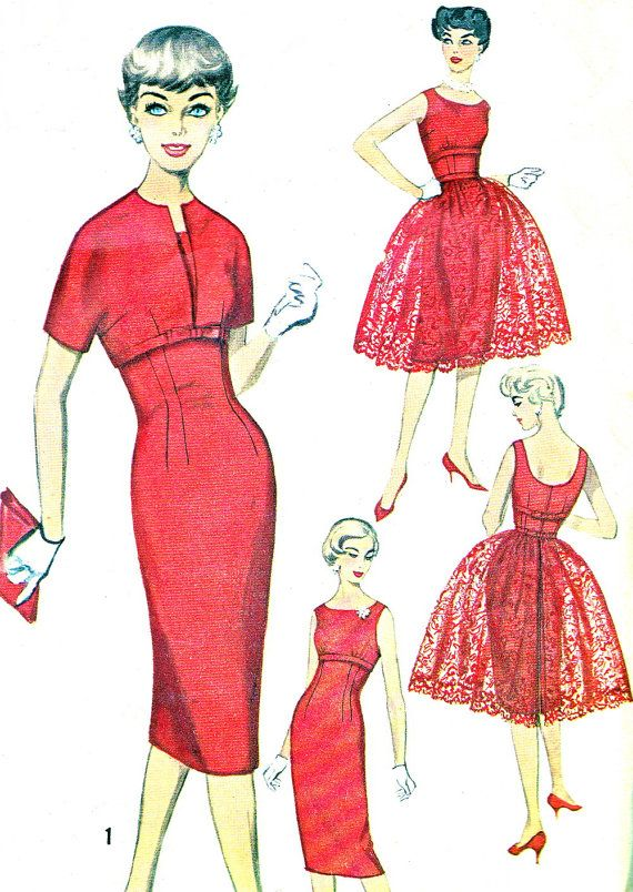 1950s Dress Pattern Simplicity 3035 Empire Waist Sheath ...