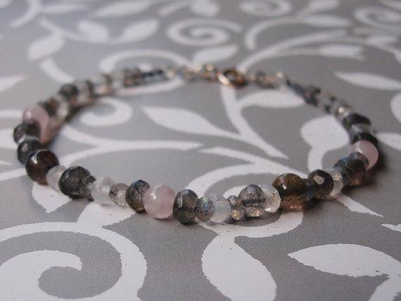 Labradorite Moonstone Rose Quartz Bracelet Beaded by INOMINOS, €17.80