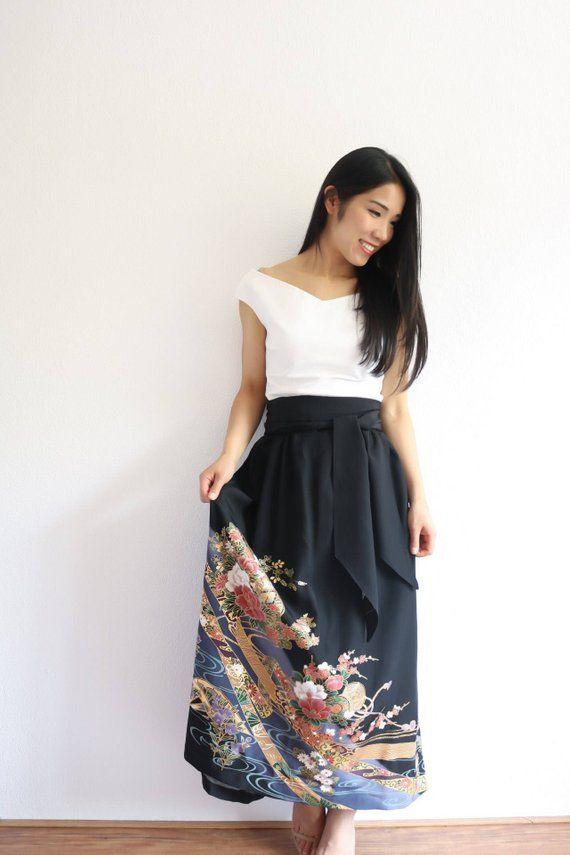 Vintage Japanese Kimono Skirt | Long Skirt | Black Skirt | Japanese Dress | Oriental Skirt |